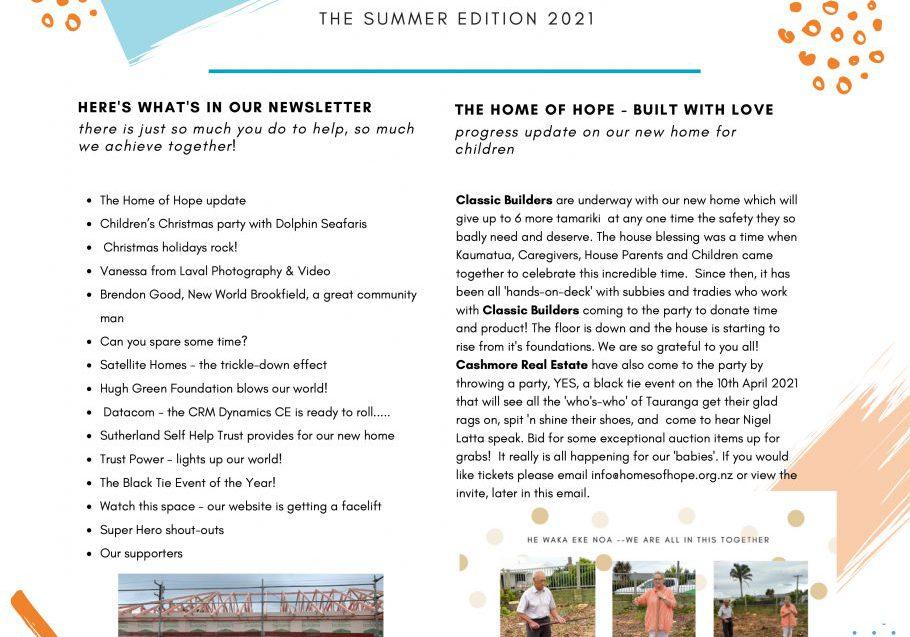 Summer  2021Homes of Hope Newsletter